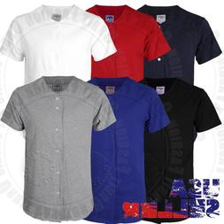 Plain Baseball Jersey T Shirts Uniform Short Sleeve Button T