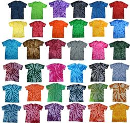 Plain Colors Tie Dye T-Shirts Youth Kids XS S M L 100% Cotto