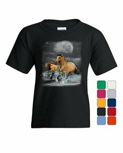 Running Wild Horses Youth T-Shirt Wildlife Mustangs Nature A