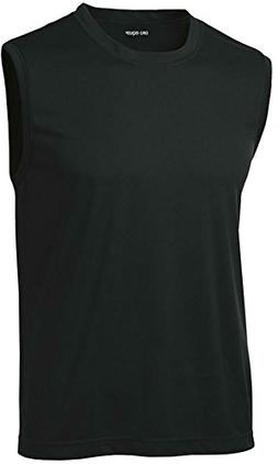DRIEQUIP Mens Sleeveless Moisture Wicking Muscle T-Shirt-Bla