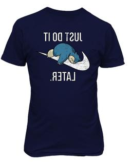"Snorlax ""Just Do It Later"" Pokemon Mens & Youth T-Shirt"