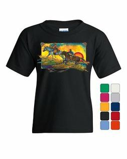 Sunset Horseback Riding Youth T-Shirt Horses Pony Cowboy Wil
