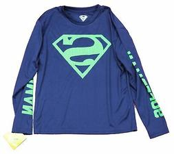 Superman Youth Rash Guard  T-Shirt - Neon Green Superman Log