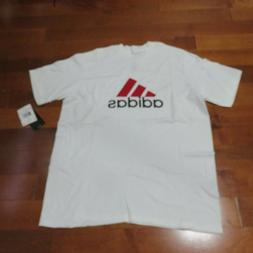 ADIDAS  T SHIRT YOUTH EXTRA LARGE WHITE/RED/BLACK 100% COTTO