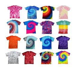 Tie Dye T-Shirts Multi-Color Kids & Adult 100% Cotton Colort
