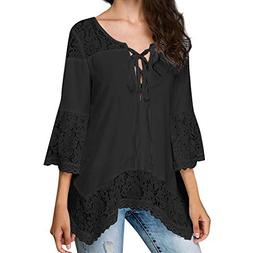 HGWXX7 Womens Tops 3/4 Sleeve Loose Lace Bandage V-Neck Chif