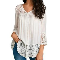 HGWXX7 Womens Tops 3/4 Sleeve Loose Lace Bandage V-Neck Blou