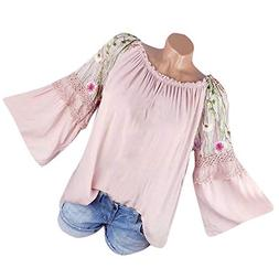 HGWXX7 Women Tops Long Sleeve Floral Embroidery Lace Flare S