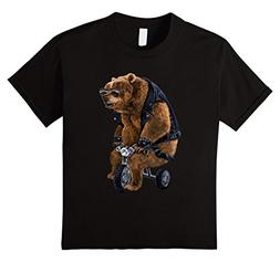 unisex-child T-Shirt, Punk Rock Grizzly Bear Ride Tricycle L