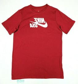 Nike USA Tee Shirt Boys White Red Youth Running 100% Cotton