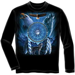 Wolf / Eagle Dreamcatcher Long Sleeve YOUTH Tee Shirt 100% C