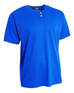 A4 Youth 2-Button Mesh Henley, Medium, Royal