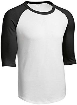 Mens or Youth 3/4 Sleeve 100% Cotton Baseball Tee Shirts-Sma