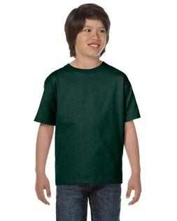 Hanes Youth Beefy-T T-Shirt, Deep Forest, Large