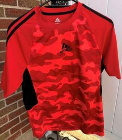 ADIDAS Youth Boys Girls XL 18 Short Sleeve T-Shirt Red Camof