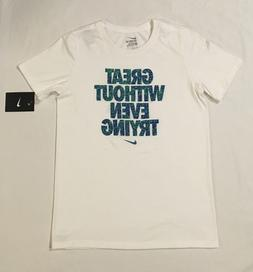 "Nike Youth Boys T-Shirt ""Great Without Even Trying"" Short Sl"
