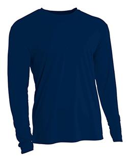 A4 Youth Cooling Performance Crew Long Sleeve T-Shirt, Navy,