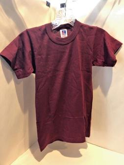 youth crew neck t shirt maroon size