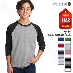 Next Level Youth CVC 3/4-Sleeve Raglan Baseball T-Shirt M-33