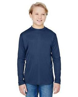 A4 Youth Dri-Fit Long Sleeve Cooling Performance Crew Neck T