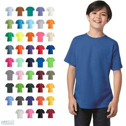 Gildan Youth Heavy Cotton Tee Crew Round Neck Plain Solid T-