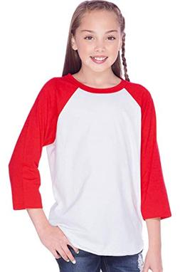 Kavio Youth Jersey Contrast Raglan 3/4 Sleeve White/Red M