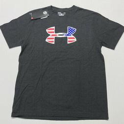 Under Armour Youth Loose Fit T-Shirt USA Flag Grey L READ Ju