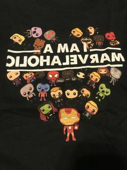 Youth M Navy Fruit Of The Loom I Am A Marvelaholic T Shirt