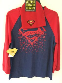 Superman T-Shirt Beanie Youth NWT Combo Bioworld Long Sleeve