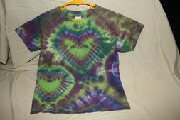 Gildan Youth Tie Dye Double Heart Tshirt NEW Size XS Green P