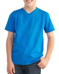 Fruit of the Loom Youth XXL blue vneck t-shirt turquoise
